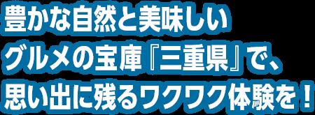 豊かな自然と美味しいグルメの宝庫『三重県』で、思い出に残るワクワク体験を!